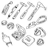Set of hand drawn medical supplies doodles isolated on a white background. stock images