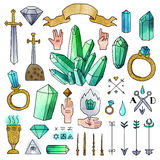 Set of hand drawn medieval elements with watercolor effect. Stock Images