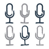 Set of hand-drawn microphone icons, brush drawing Royalty Free Stock Images