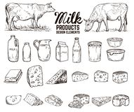 Set of hand drawn milk products design elements. butter, cheese, sour cream, yogurt, cows. For package, poster, sign, banner,. Flyer. Vector illustration vector illustration