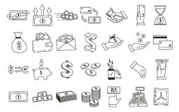 Set of hand drawn money related icons. Vector doodle illustrations with money, finance and commerce related subjects stock illustration