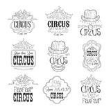 Set Of Hand Drawn Monochrome Circus Show Promotion Signs In Pencil Sketch Style With Calligraphic Text And Detailed royalty free illustration