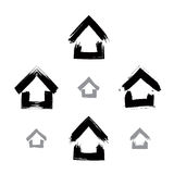 Set of hand-drawn monochrome home icons, collection of black and Stock Photo