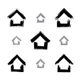 Set of hand-drawn monochrome home icons, collection Royalty Free Stock Image