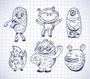 Set of hand drawn monsters and freaks. Vector illustration royalty free illustration