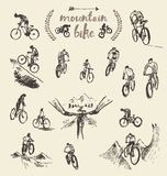 Set hand drawn mountain bike cyclist vector sketch Royalty Free Stock Images