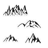 Set of hand drawn mountains isolated on white background,  Stock Image