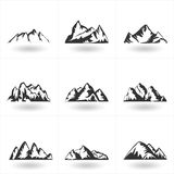Set of  hand drawn Mountains silhouette icons for logo des Royalty Free Stock Photo