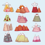 Set of hand Drawn mountains vector illustration Royalty Free Stock Photography