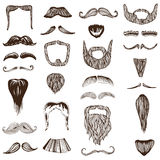 Set of hand drawn Moustache / Mustache Stock Image