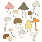 Set of hand drawn mushrooms. Royalty Free Stock Photos