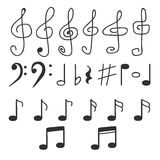 Set of hand drawn music notes Stock Photo