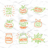 Set of hand drawn natural badges and labels vector Royalty Free Stock Images