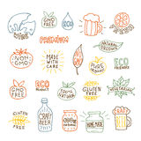 Set of hand drawn natural badges and labels vector Royalty Free Stock Image
