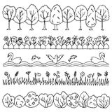 Set hand drawn nature border Royalty Free Stock Photos