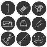 Set of hand drawn needle work icons Stock Photo