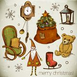 Set of Hand-drawn New Year and Christmas Elements. Set of Hand-drawn New Year and Christmas Design Elements, with Christmas tree, gifts, skates,clock, chair stock illustration