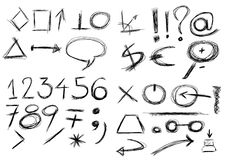 Set  hand drawn, numbers, , circle, square,. Set hand drawn shapes and numbers Stock Images