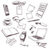Set of hand drawn objects for business people. Stock Images