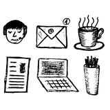 Set of hand drawn objects for business people. Vectorial isolated elements Stock Photos