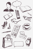Set of hand drawn objects for business woman. Stock Images