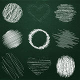 Set of hand drawn objects chalk on chalkboard. Bubbles Doodle different shapes for design. Stock Photos