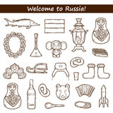 Set of hand drawn objects on Russia theme Stock Photography
