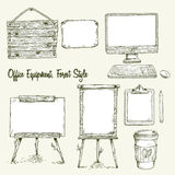 Set of hand drawn office equipment in eco style. Royalty Free Stock Images