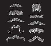 Set of hand drawn old fashion mustaches. Black contour artistic drawing. Set of hand drawn old fashion mustaches. Black contour artistic drawing Vector Illustration