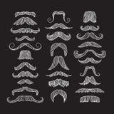 Set of hand drawn old fashion mustaches. Black contour artistic drawing. Set of hand drawn old fashion mustaches. Black contour artistic drawing Stock Illustration