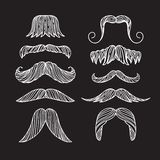Set of hand drawn old fashion mustaches. Black contour artistic drawing. Set of hand drawn old fashion mustaches. Black contour artistic drawing Royalty Free Illustration