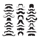 Set of hand drawn old fashion mustaches. Black contour artistic drawing. Actual hipster vector. Male barber sahop. Set of hand drawn old fashion mustaches. Black Royalty Free Illustration