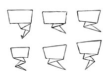 Set of hand-drawn origami vector banners. Speech bubble Royalty Free Stock Photo