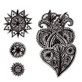 Set of hand drawn ornate doodle elements with Stock Image