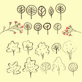 Set of hand drawn outline sign of trees. Stock Photo