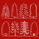 Set of hand-drawn outline tree on background  illustration Royalty Free Stock Images