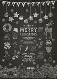 Set of Hand-drawn Outlined Christmas Doodle Icons. Royalty Free Stock Photos