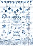 Set of Hand-drawn Outlined Christmas Doodle Icons. Stock Photo