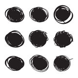 Set hand drawn ovals, felt-tip pen circles Stock Photo