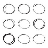 Set hand drawn ovals, felt-tip pen circles Royalty Free Stock Image