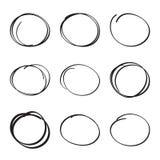 Set hand drawn ovals, felt-tip pen circles Royalty Free Stock Image