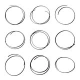 Set hand drawn ovals, felt-tip pen circles. Underlining, note, highlight important information. Rough frame elements Stock Image