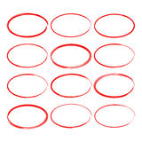 Set hand drawn ovals Stock Photo