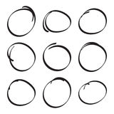 Set hand drawn ovals Royalty Free Stock Photography