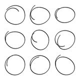 Set hand drawn ovals Royalty Free Stock Photo