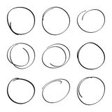 Set hand drawn ovals Stock Photography