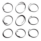 Set hand drawn ovals Royalty Free Stock Image