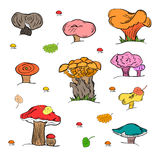 Set of Hand Drawn Painted Mushrooms  Isolated on White. Autumn Falling Leaves. Doodle Style. Stock Photography