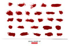 Set of hand drawn painted scratched Illustrations template of Grunge Halloween background with blood splats banners abstrac. T background brush texture for royalty free illustration