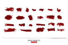 Set of hand drawn painted scratched  Illustrations template of Grunge Halloween background with blood splats banners abstrac. T background brush texture Stock Images